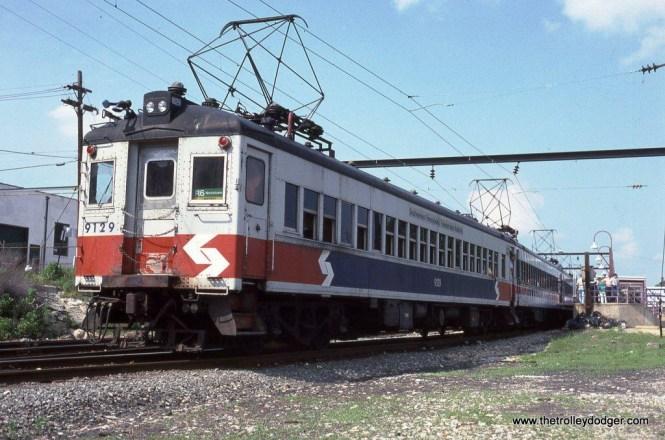 SEPTA Blueliner #9129 at Elm Street Station in Norristown, PA in 1989.