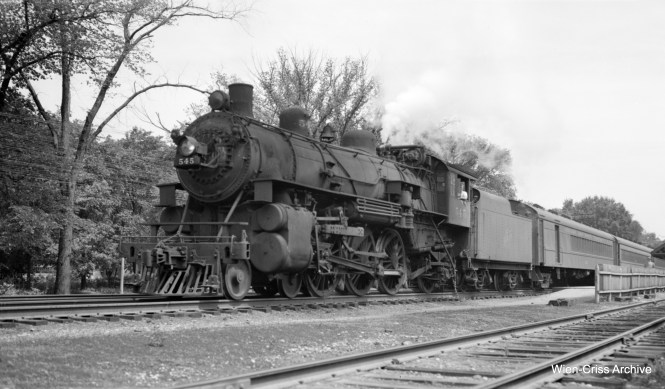 C&NW 545 and train in Edison Park on Chicago's northwest side. (Robert Selle Photo, Wien-Criss Archive)