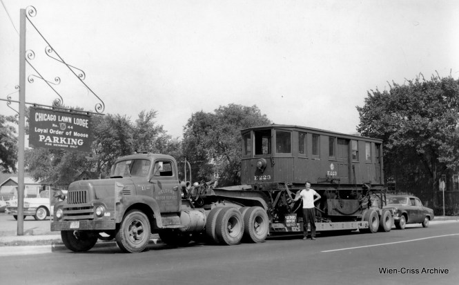 CTA snow sweeper E223 was saved from destruction by Dick Lukin, and it is shown here in 1958, on its way to the Illinois Electric Railway Museum site in North Chicago. (Robert Selle Photo, Wien-Criss Archive)