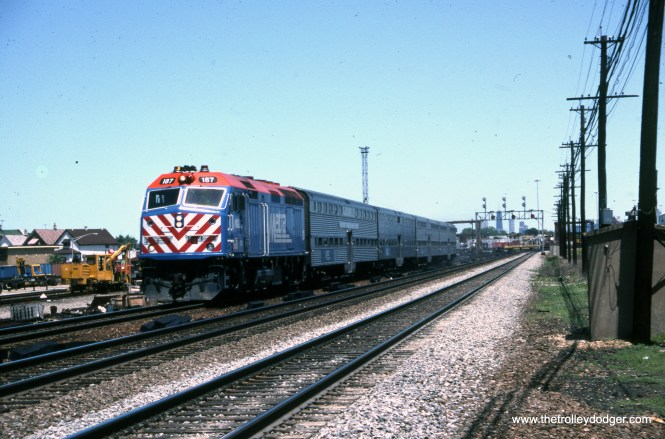 Metra Burlington Northern commuter train 187 at Clyde (29th and Austin) on June 21, 1992.