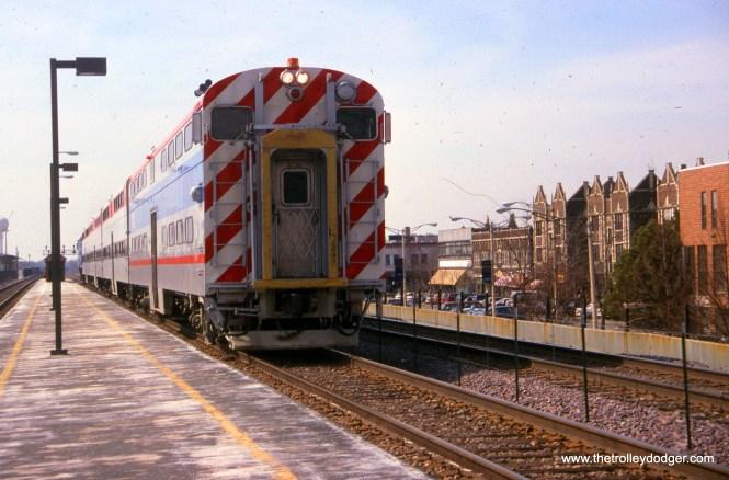 Metra 8730 in Oak Park on March 12, 1996.