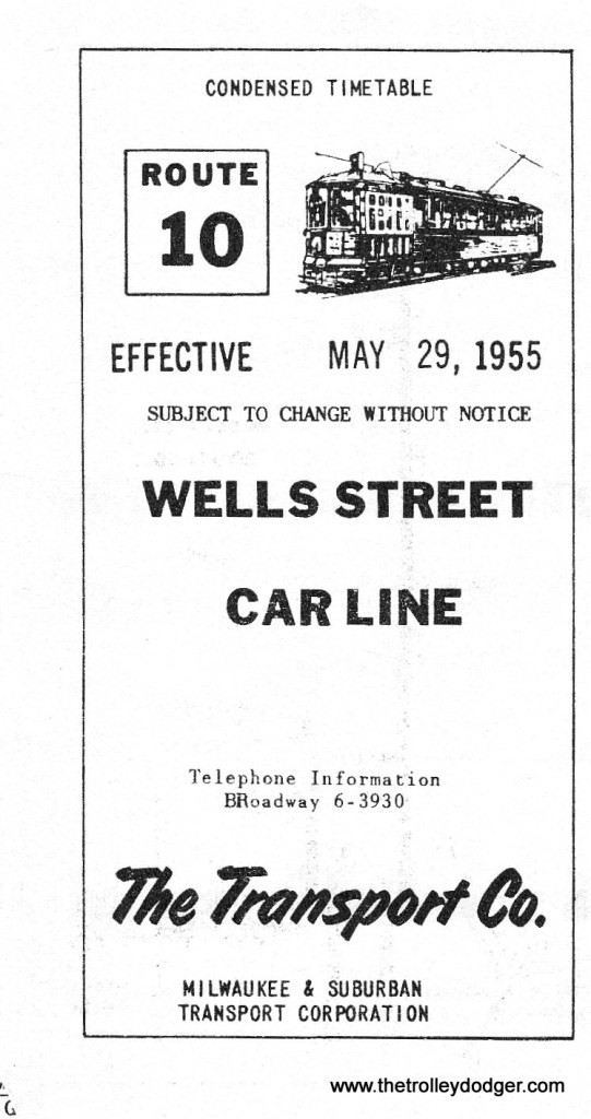 The Route 10 timetable for May 29, 1955.