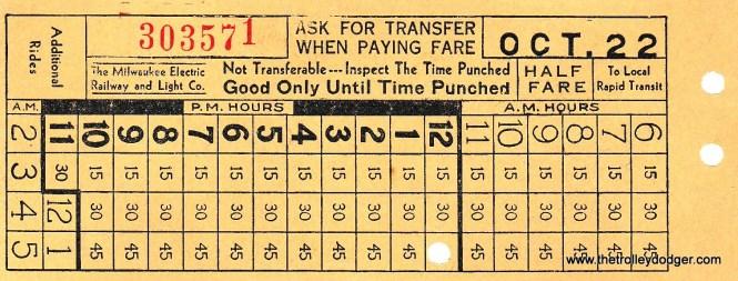 A TMER&L streetcar transfer (front).