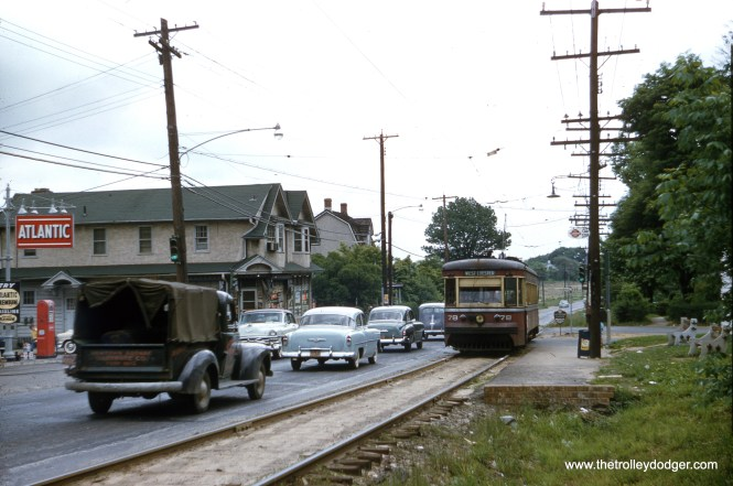 Philadelphia Suburban (aka Red Arrow) car 78 at Larchmont Station on West Chester Pike at Media Line Road, Newtown Township, PA on May 9, 1954. Photographer Edward S. Miller noted that he later operated this car at the Arden trolley museum.