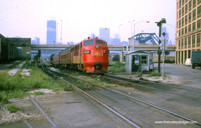 A Gulf, Mobile & Ohio passenger train near Chicago's Loop. This slide was process in August 1972, right around the time that the GM&O was merged into the Illinois Central. (William Shapotkin Collection)