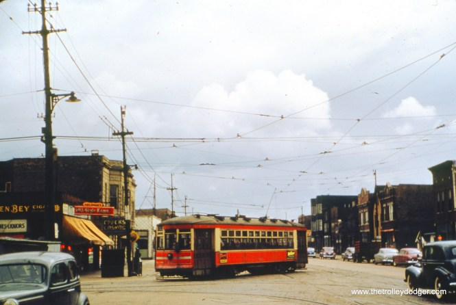 CTA one-man car 6224 is at 92nd and Commercial in April 1948. (William Shapotkin Collection)