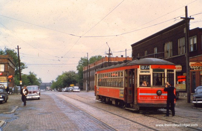 CTA one-man car 3219 is at 87th and Escanaba in May 1950, at the end of the line for Route 87A. The operator is changing ends. (William Shapotkin Collection)