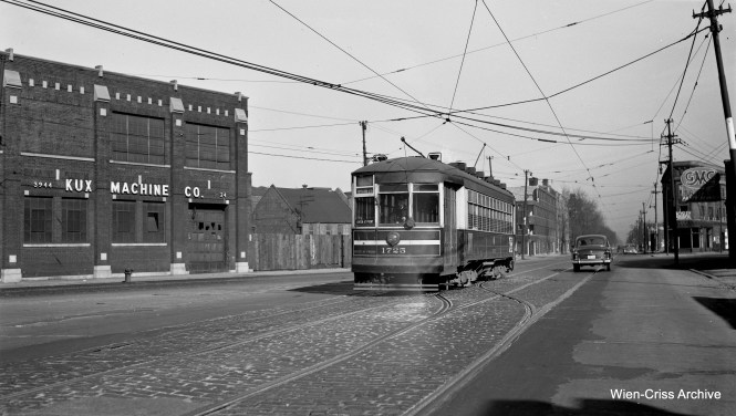 "CTA 1725 is operating as a one-man shuttle car on the Madison-Fifth branch line on Route 20 on February 15, 1953. The car is heading southwest on Fifth Avenue approaching Harrison Street and Pulaski Avenue, which was the end of the line near the adjacent Garfield Park ""L"" station. I thought at first that the date might actually have been 1954, but subsequent research shows the 1953 date to be correct (see correspondence with Tony Waller below). (Robert Selle Photo, Wien-Criss Archive)"