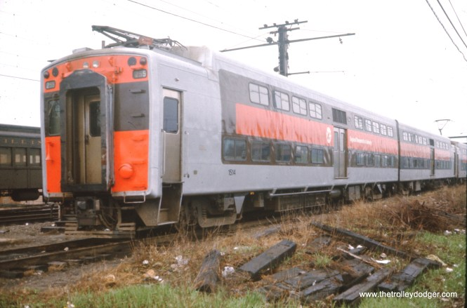 Illinois Central Electric bi-level car 1514 at the Blue Island Yards on April 23, 1978.