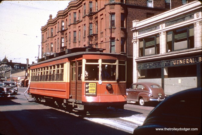 Chicago Surface Lines 474 is on Belmont at Clark in May 1947.