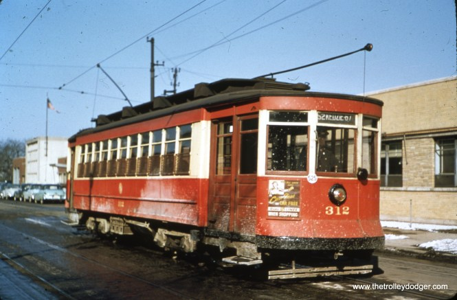 """CTA Pullman 312 on Kedzie. Bill Shapotkin adds, """"Car is working #52 -- Kedzie-California and is laying over in California at Roscoe. View looks north."""""""