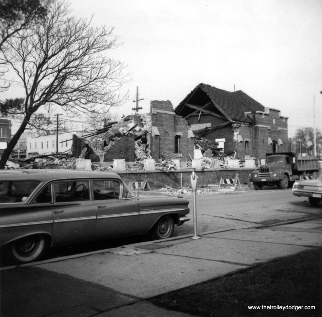 This photo, dated May 1966, shows the CA&E's Wheaton station being torn down.