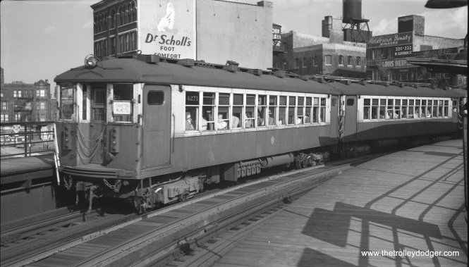 """CTA 4271-4272 head up a northbound Evanston Express train passing through the Chicago Avenue station on June 26, 1958. These two cars, which were originally independent but were converted to semi-permanent """"married pairs"""" in the 1950s, are still on CTA property and within a few years will celebrate their centennial. When the last of the 4000-series """"L"""" cars were retired in 1973, these were chosen for preservation as historic cars. They are occasionally used for special events. (Robert Selle Photo)"""