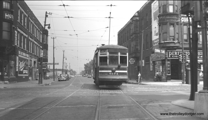 """Photographer Bob Selle writes, """"CTA one-man car 6174 eastbound as it crosses Halsted Street on Root Street (43rd Street line), leaving west end of line. August 1, 1953."""""""
