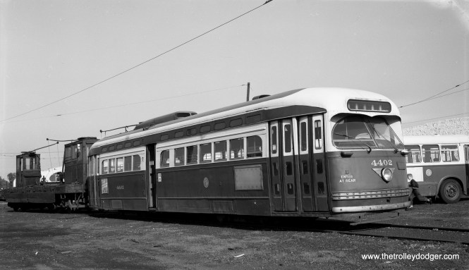 The end is near for CTA 4402 and the other couple dozen or so PCC cars that remained at the end of service. Ultimately, only car 4391, now at the Illinois Railway Museum, was saved. This picture was taken at 77th Street yards on June 15, 1958. (Robert Selle Photo)