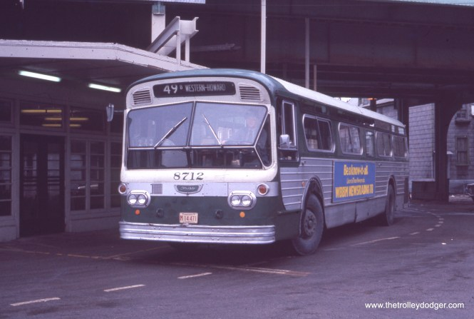 """CTA 871, running on Route 49B North Western, is at the Western Avenue stop on the Ravenswood """"L"""" in June 1973. (Michael N. Charnota Photo)"""