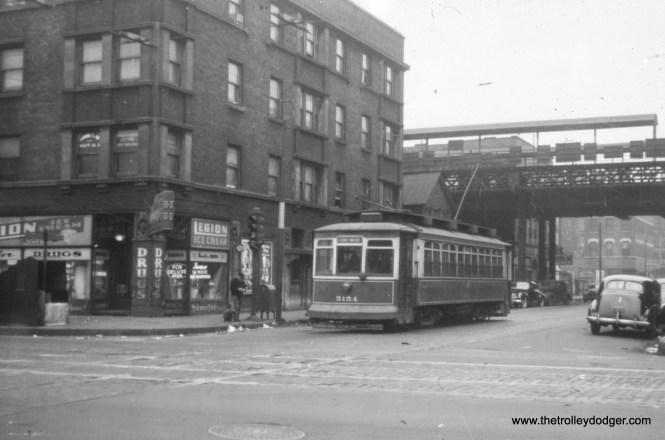 "CSL 5154. Bill Shapotkin adds, ""This is a W/B 31st car at State St (South Side ""L"" in background). View looks east."" Again, we previously ran another picture of this same car on the same route in our post Spring Forward (April 19, 2018)."