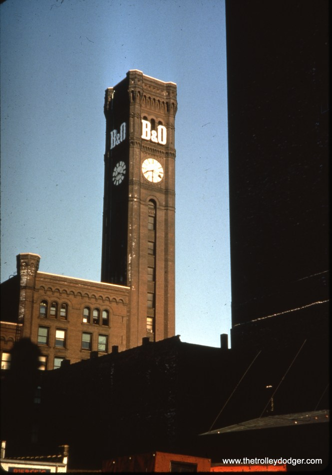 The imposing clock tower of Grand Central Station, in operation from 1890 to 1969. Located at the southwest corner of Wells and Harrison, it was demolished in 1971. This view looks northwest. (Ron Peisker Photo)