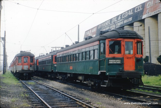 Various North Shore Line cars are seen in Waukegan in June 1961, including 159. (F. R. Burke Photo)