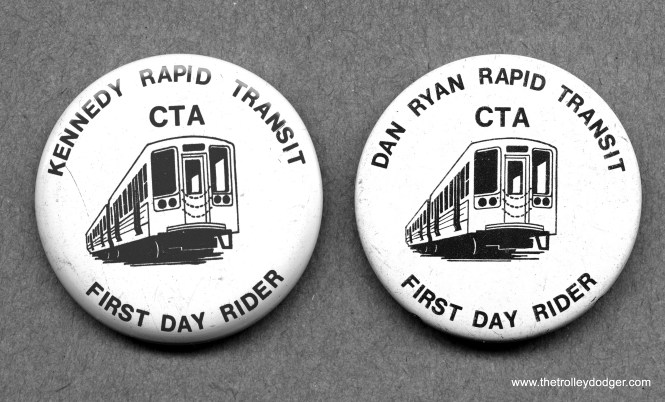 The CTA issued these button in 1969-70 when two new expressway median lines were opened. The Kennedy line also included a new one-mile subway along Kimball and Milwaukee.