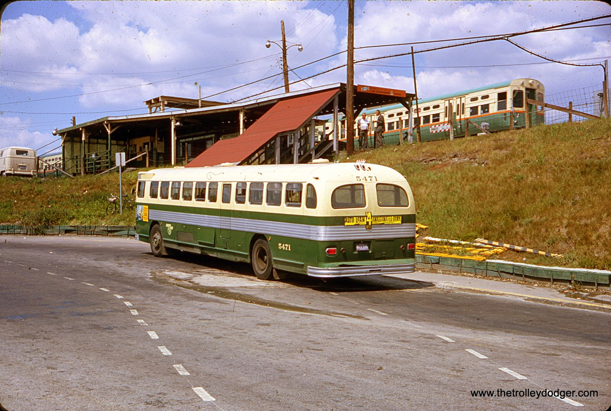 CTA Flxible bus 5471 is at the DesPlaines Avenue terminal in Forest Park on August 14, 1964. This terminal has since been rebuilt and is now part of the Blue Line.