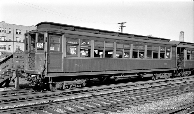"""CRT 2881 is at Gunderson Avenue (in suburban Oak Park), one of the ground-level stations on the Garfield Park """"L"""", on September 19, 1934. This location is now the site of I-290, the Eisenhower Expressway."""