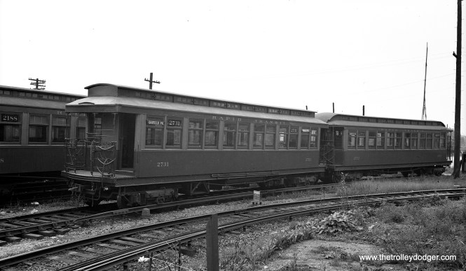 """Chicago Rapid Transit Company 2731 is at Laramie Yard (on the Garfield Park """"L"""") in September 1936."""