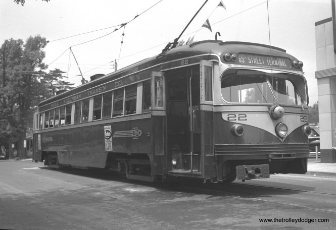Red Arrow car 22, a double-ended 1949 product of St. Louis Car Company, is presumably at the west end of the Media interurban line. These cars, which closely resemble PCCs, are not classified as such as they used standard interurban undergear.