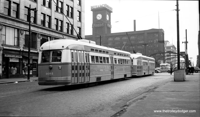 CSL 4081 and 7074 are heading northbound on Clark Street near Wacker Drive on June 13, 1947.