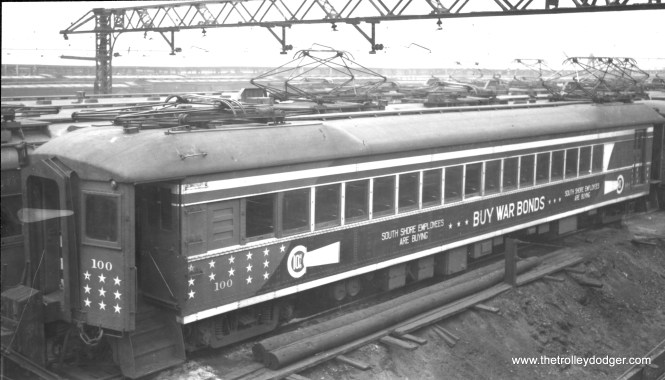 #100 at Chicago on February 8, 1944. The only patriotic car of CSS&SB. (Gordon E. Lloyd Photo) (Editor's note: there is a different picture of car 100 in this paint scheme in my book Chicago Trolleys.)