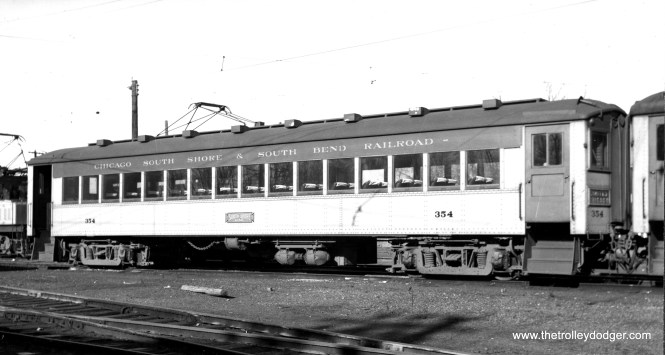 #354 was built by Pullman in 1927 as a parlor car trailer, and rebuilt as a passenger car trailer in 1939.