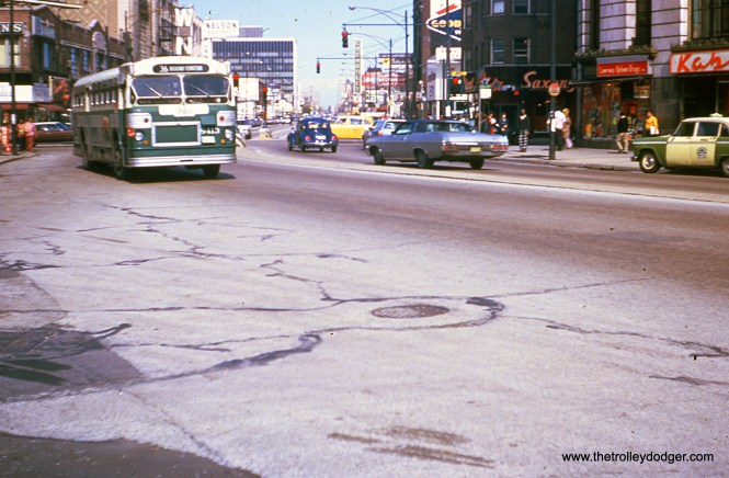 CTA bus 8413 is southbound on Broadway at Lawrence in October 1973, running on Route 36. (Ronald J. Sullivan Photo)