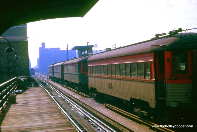 North Shore Line cars are stored on the center track at the CTA's Roosevelt Road station on November 7, 1962. The view looks south. CNS&M had exclusive use of the station from 1949 to 1963, as rapid transit cars on North-South were routed through the State Street subway. The station was eventually removed, but since put back. (William Shapotkin Collection)