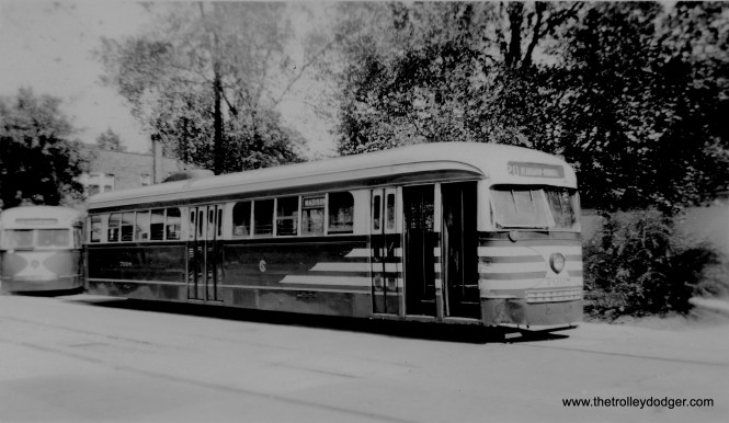 """Chicago Surface Lines 7008, in """"tiger stripes,"""" is in the Madison-Austin loop, circa 1945-46. (Robert J. Mahar Photo)"""