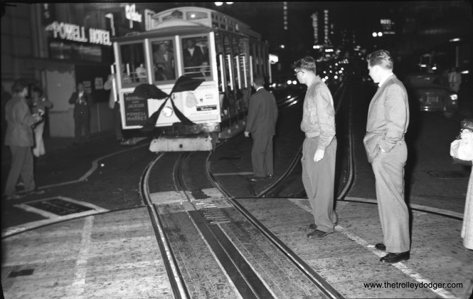 SF Muni cable car 524 is at Powell and Market at 1 am on September 2, 1956.