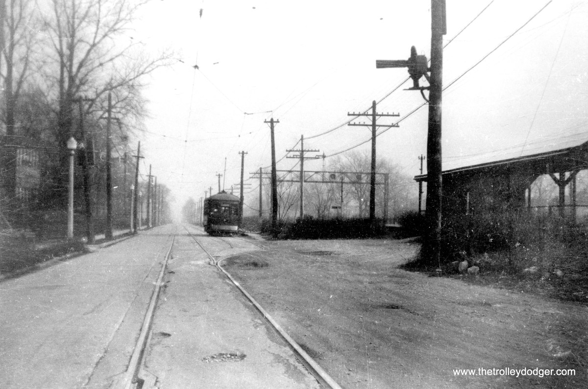 """I am not sure of where this C&WT photo was taken. (William Shapotkin Collection) Patrick Cunningham: """"The unidentified C&WT photo looks like it was taken just east of the Stone Ave. station on the CB&Q in LaGrange. The view is east. If you look at the prior photo of the end of the C&WT in LaGrange (which was at Brainard Ave.), you'll note that the line was single track. This appears to be a passing siding or layover point."""" On the other hand. Michael Murray writes, """"I believe the 7th C&WT picture is looking east at Harlem and Stanley Aves. Page 128 of the Buckley book shows the signal on the pole, the track alignment, the CBQ shelter, and the CBQ signal in a photo near where yours was taken. I originally thought the same about the C&WT picture, but it's Berwyn, not La Grange. The Buckley book confirms the location. """" Charles R. Vlk: """"The """"I am not sure of where this C&WT photo was taken. (William Shapotkin Collection)"""" photo is looking East on Stanley Avenue where the single track line crossing the Burlington at Harlem Avenue goes to double track. Harlem Avenue is behind the camera to the West."""""""