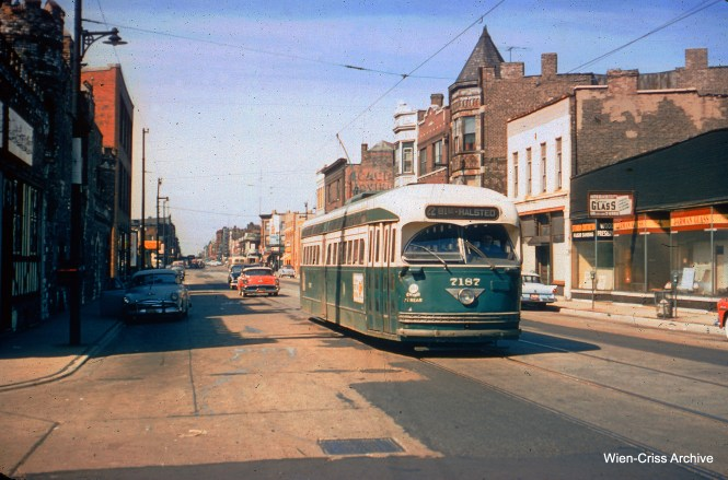 CTA PCC 7187 on Clark Street on September 6, 1957, the last day of street railway service on Chicago's north side. (Charles H. Thorpe Photo, Wien-Criss Archive)