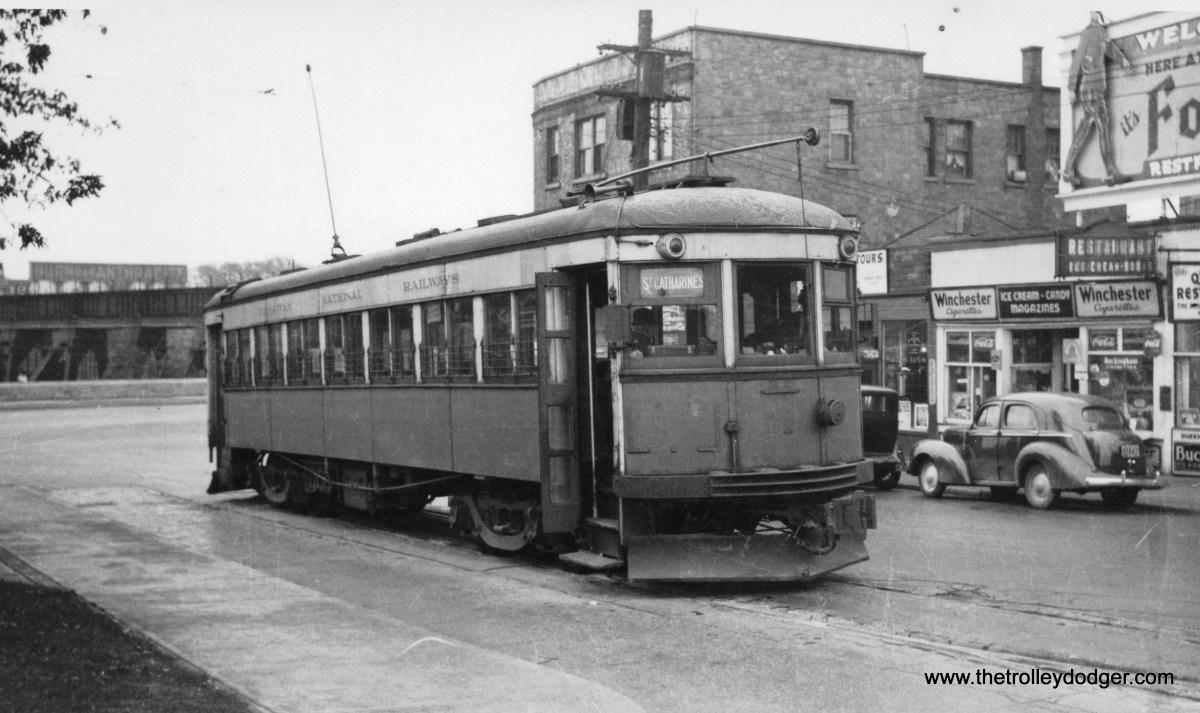 A Niagara St. Catharines and Toronto Railway trolley.