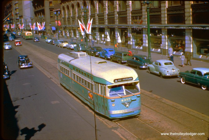 CTA postwar PCC 4337, built by Pullman, heads south on State Street in the early 1950s.