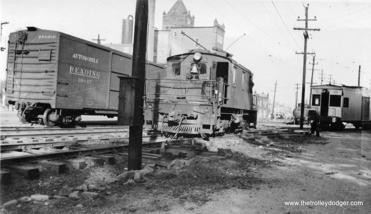 Unidentified steeple cab locomotive.
