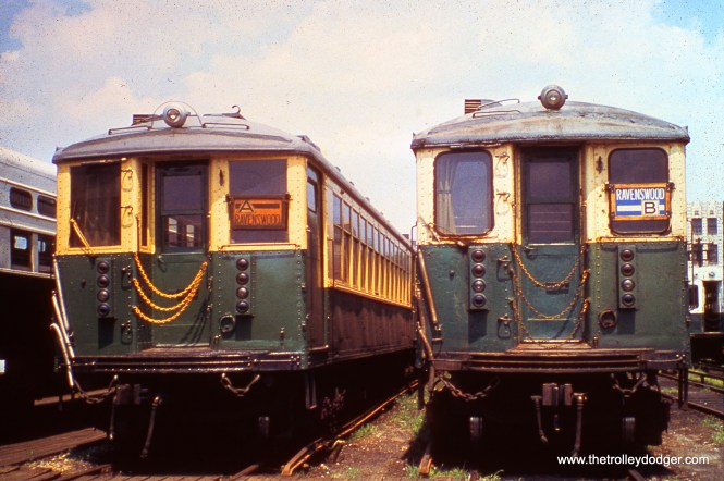 CTA 4387 and 4432 in the Kimball yard on July 25, 1970.