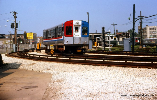 It appears CTA 6138 is at the tail end of a train that is approaching the Ravenswood terminal at Kimball and Lawrence in August 1978.