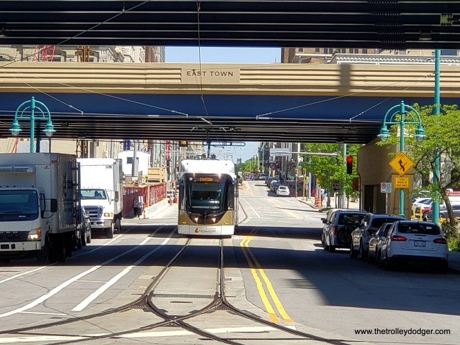 A southbound car approaches the Public Market.