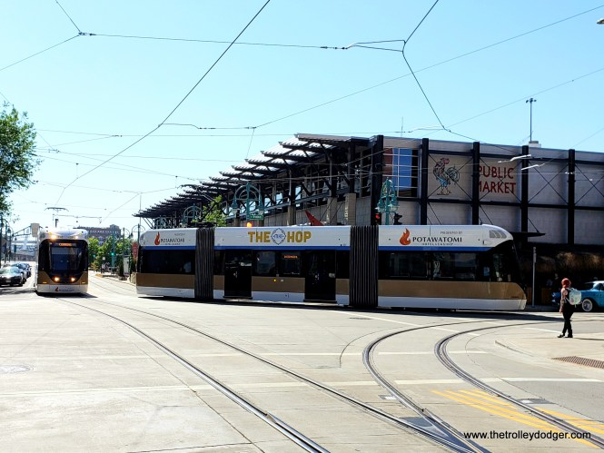 Streetcars coming and going at the Public Market.