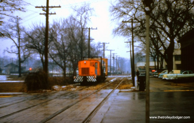 Although this photo is not very sharp, it is historic, since it shows the dismantling of the Shore Line Route on January 28, 1956. I think this may be Wilmette. (Joseph Canfield Photo)