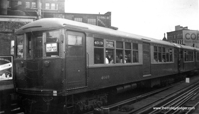 "CRT 4069 is, I believe northbound at Chicago Avenue, running as a Ravenswood Express sometime between 1943 and 1949, a period when the Rave was routed through the new State Street Subway. (Edward Frank, Jr. Photo) M.E.: ""As your caption says, the Ravenswood ran in the State St. subway til 1949. And then it ran through to Englewood. After 1949, when the CTA implemented A and B skip-stop service, Englewood trains went instead to Howard St., and the Ravenswood got its own service using the original L structure into the Loop. As for the destination sign on the front, this style preceded A and B service. I think it's possible this picture was taken prior to 1943. Miles Beitler: ""Photo img750 puzzles me. If this was in fact a subway train, the destination sign should read ""VIA SUBWAY"" and the train would serve the Chicago/State subway station rather than the Chicago Avenue elevated station. Since Ravenswood express trains did use the subway until 1949, and this train obviously did not, I wonder if the photo predates the opening of the subway."""