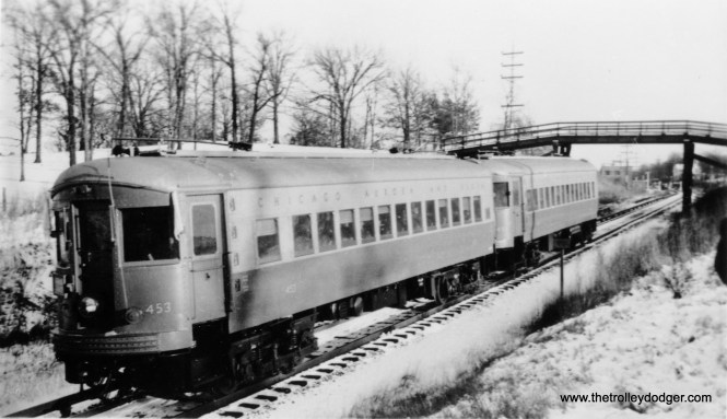 Chicago Aurora and Elgin car 453, which will soon find a new home at the Illinois Railway Museum. (William Shapotkin Collection)