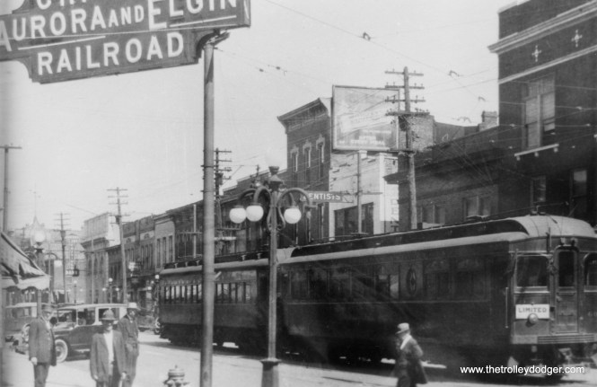 The Chicago Aurora & Elgin running on the street in downtown Aurora. The end of the line was shifted to an off-street terminal in 1939.