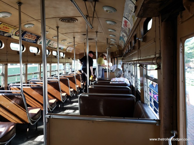 The interior of CTA PCC streetcar 4391, built by St. Louis Car Company in 1948. It ran on the streets of Chicago until 1958.