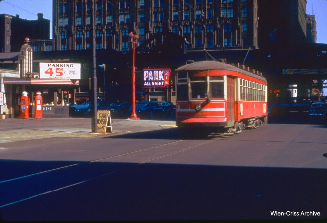 CTA one-man car 3175 at Randolph and Franklin on October 19, 1952.